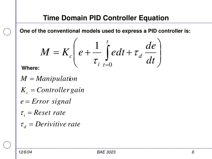 Time Domain PID Controller Equation