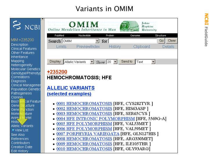 Variants in OMIM