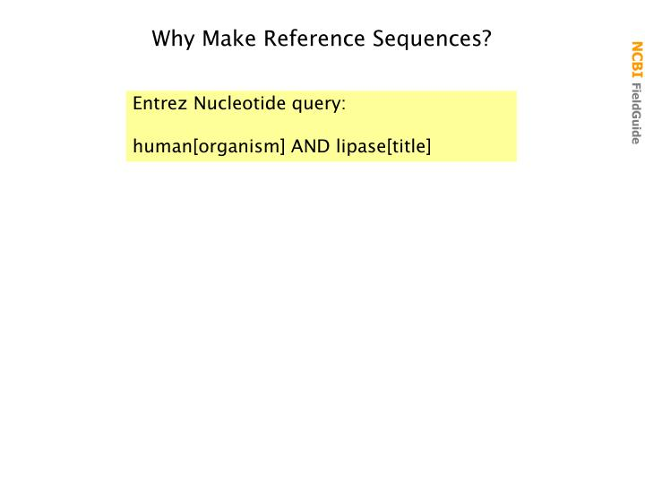 Why Make Reference Sequences?
