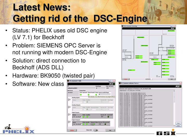 Status: PHELIX uses old DSC engine (LV 7.1) for Beckhoff