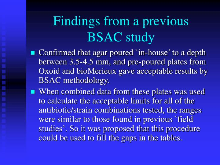 Findings from a previous bsac study