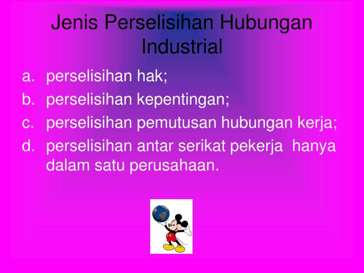 Jenis Perselisihan Hubungan Industrial