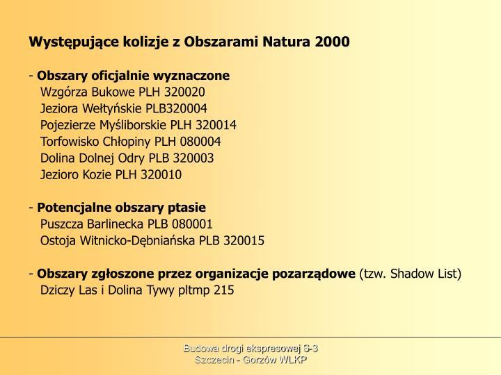 Występujące kolizje z Obszarami Natura 2000