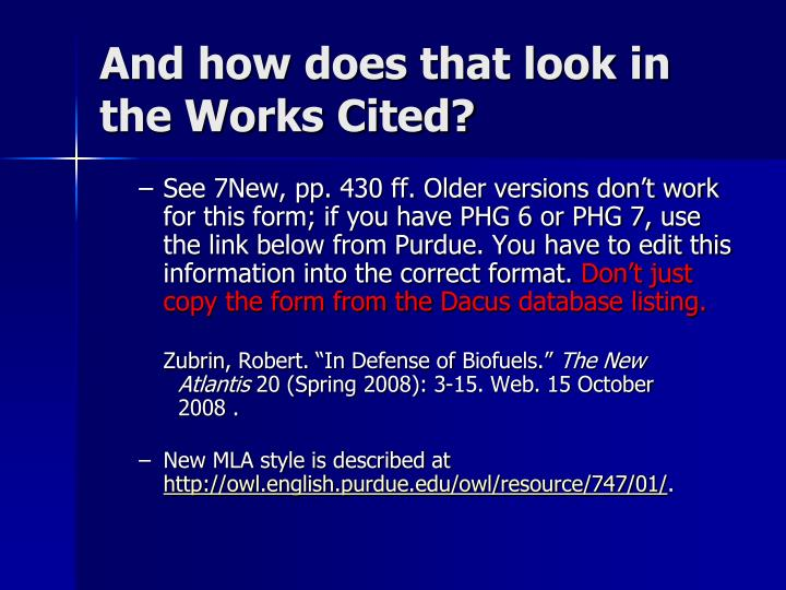 And how does that look in the Works Cited?