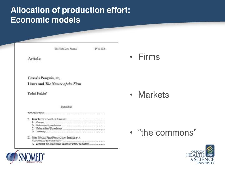 Allocation of production effort: