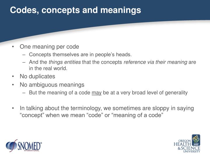 Codes, concepts and meanings