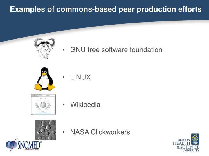 Examples of commons-based peer production efforts