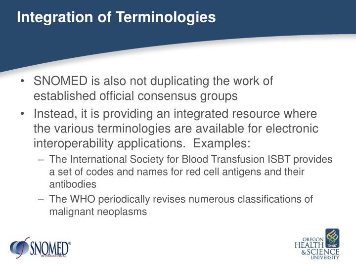 Integration of Terminologies