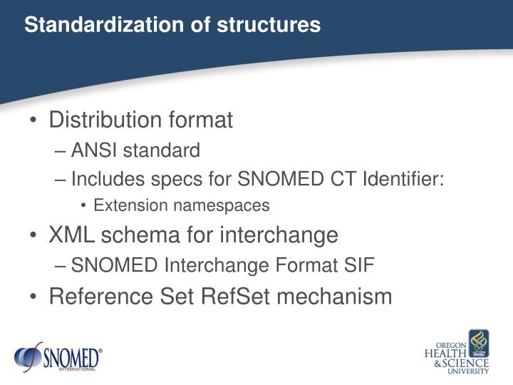Standardization of structures