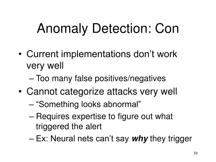 Anomaly Detection: Con