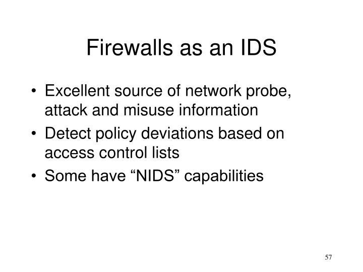 Firewalls as an IDS