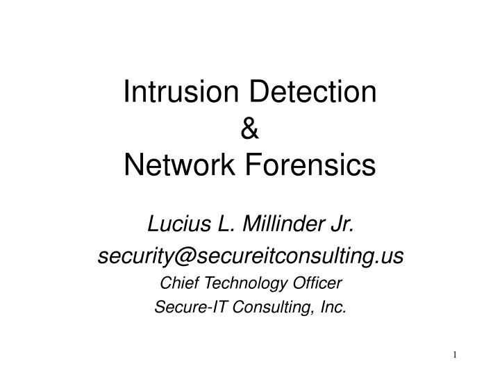 intrusion detection network forensics