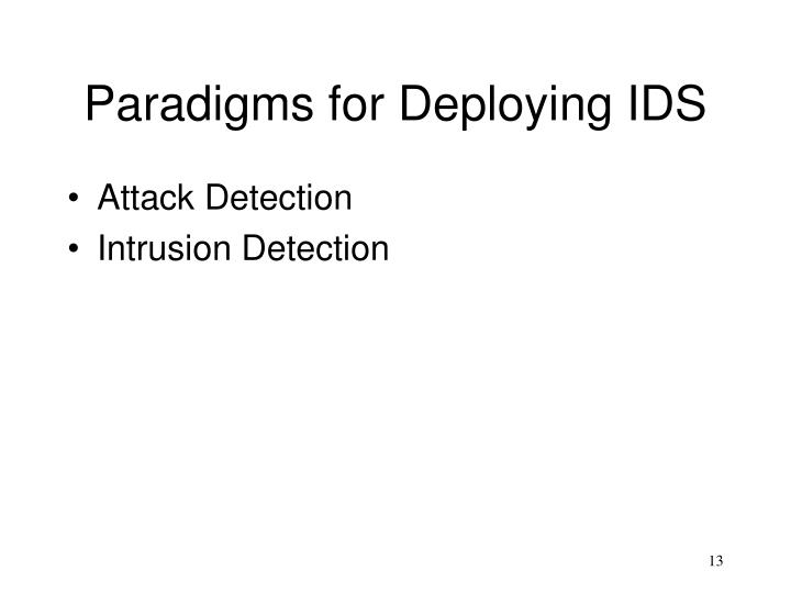Paradigms for Deploying IDS