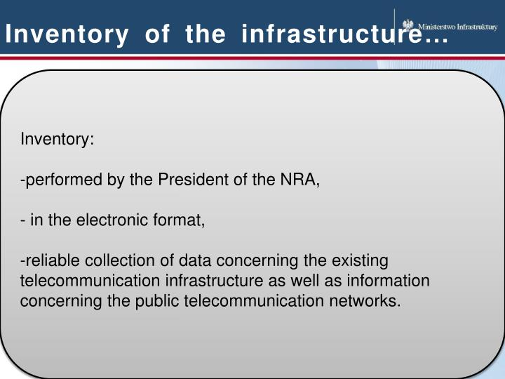 Inventory of the infrastructure