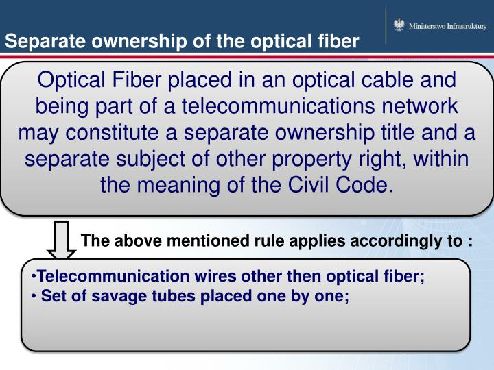 Separate ownership of the optical fiber