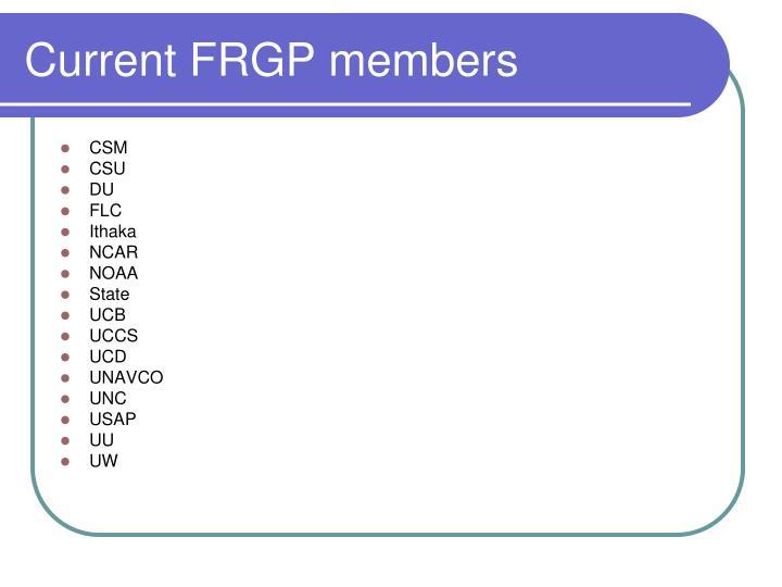 Current FRGP members