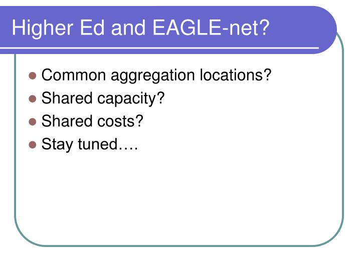 Higher Ed and EAGLE-net?