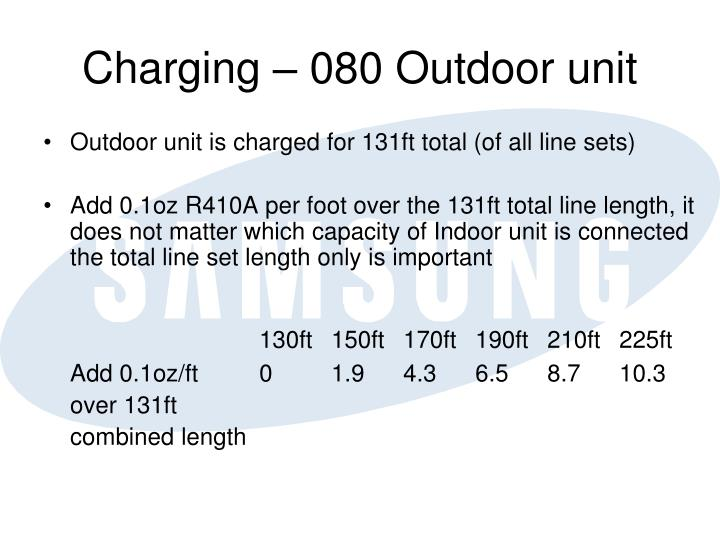 Charging – 080 Outdoor unit