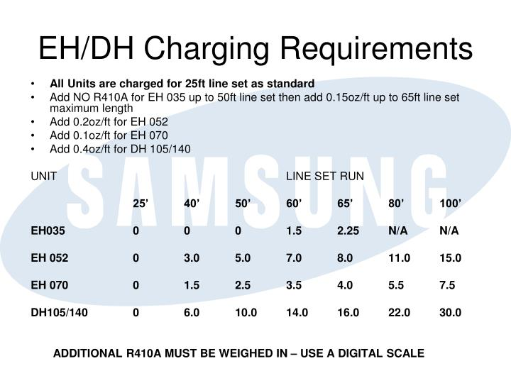 EH/DH Charging Requirements