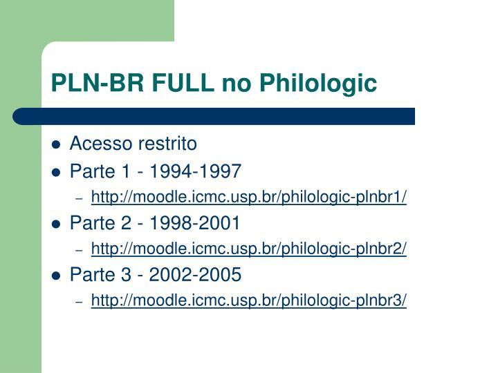 PLN-BR FULL no Philologic