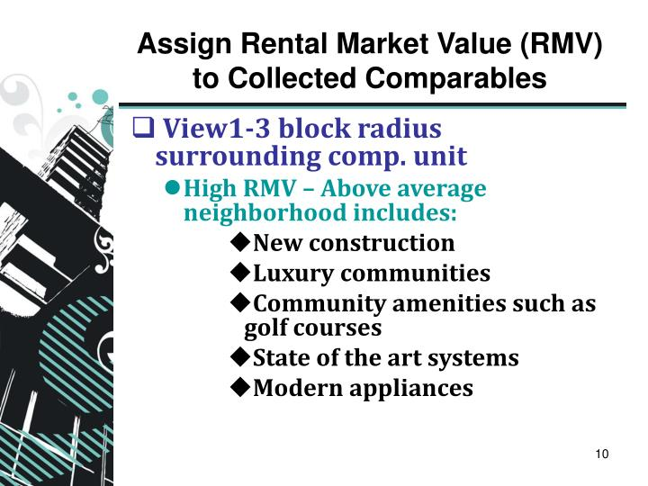 Assign Rental Market Value (RMV) to Collected Comparables
