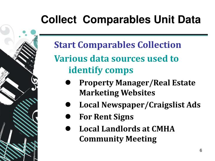 Collect  Comparables Unit Data