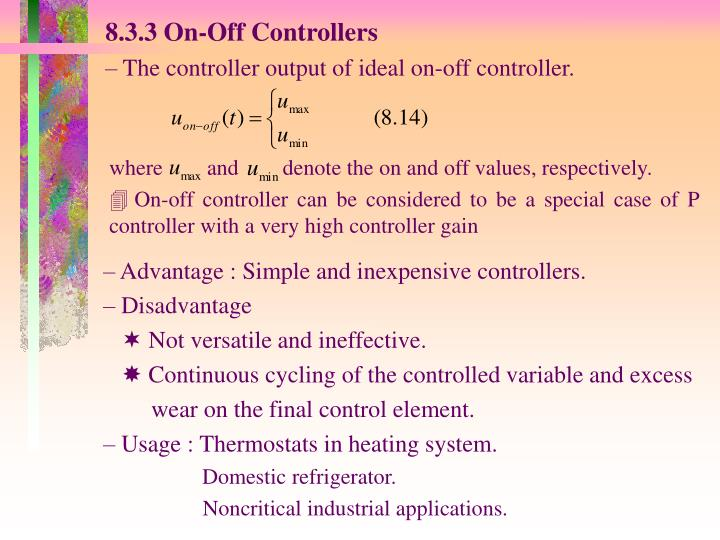 8.3.3 On-Off Controllers