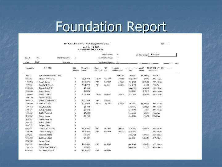 Foundation Report