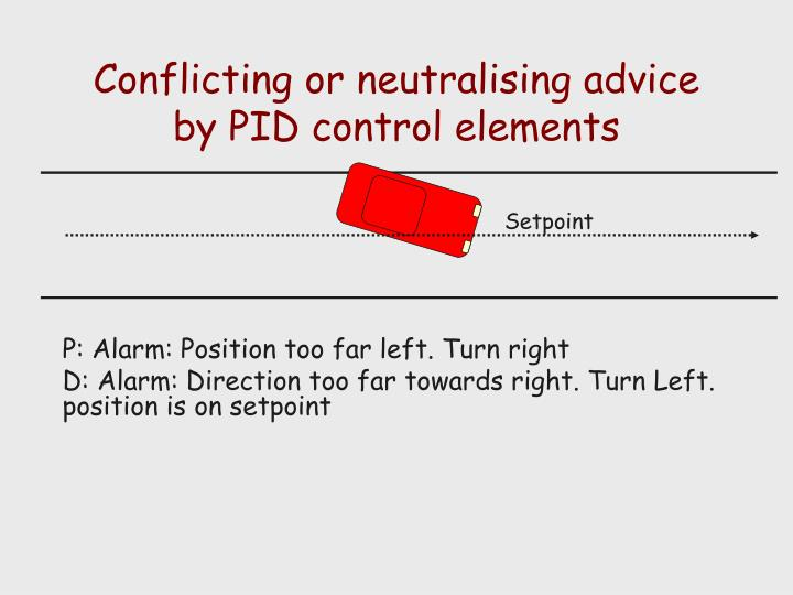 Conflicting or neutralising advice by PID control elements