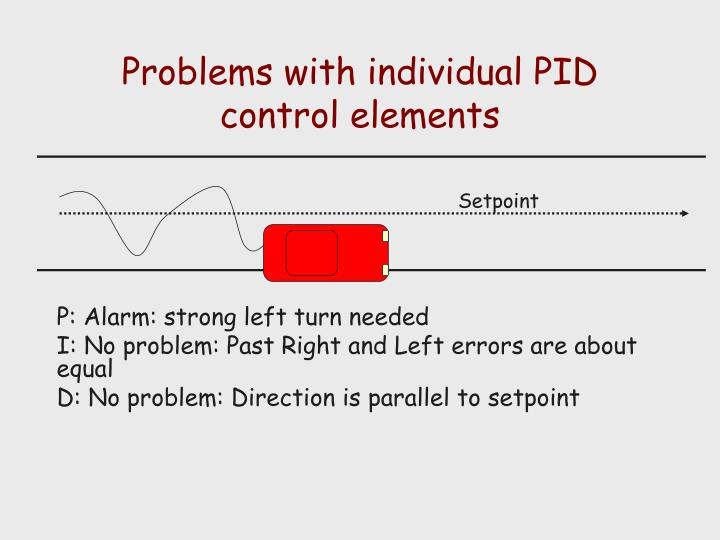 Problems with individual PID control elements