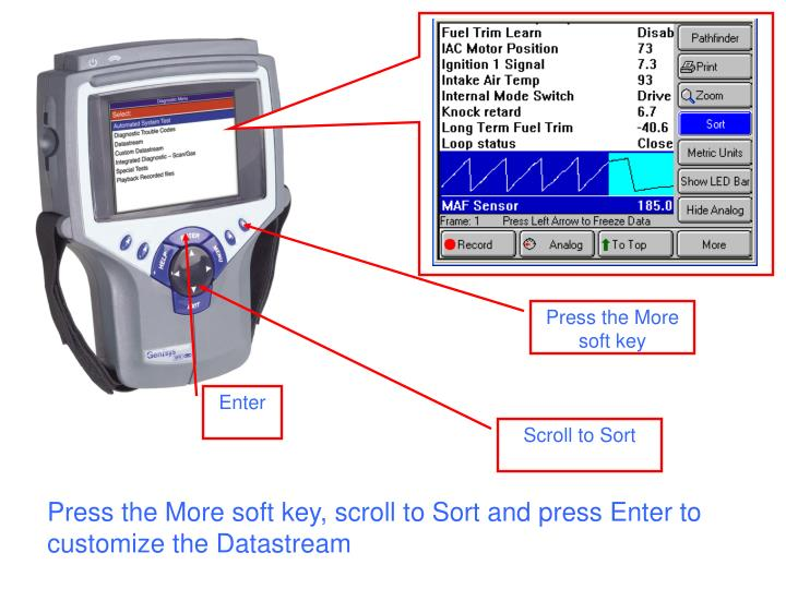 Press the More soft key, scroll to Sort and press Enter to customize the Datastream
