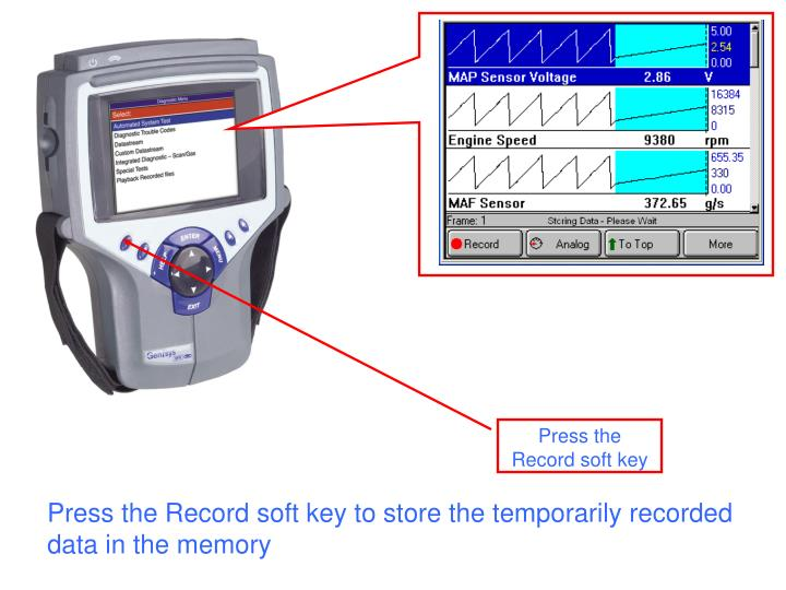 Press the Record soft key to store the temporarily recorded data in the memory