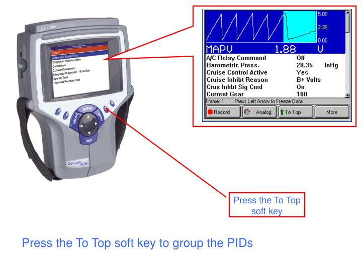 Press the To Top soft key to group the PIDs