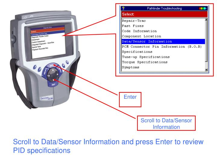 Scroll to Data/Sensor Information and press Enter to review PID specifications