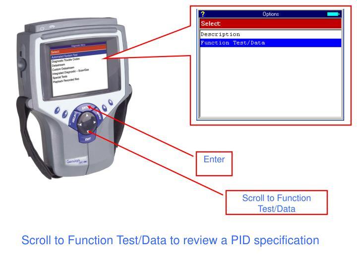 Scroll to Function Test/Data to review a PID specification