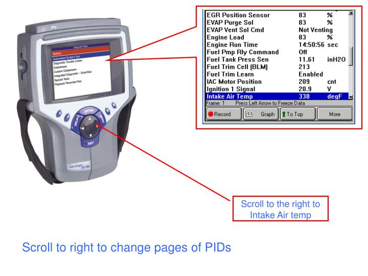 Scroll to right to change pages of PIDs