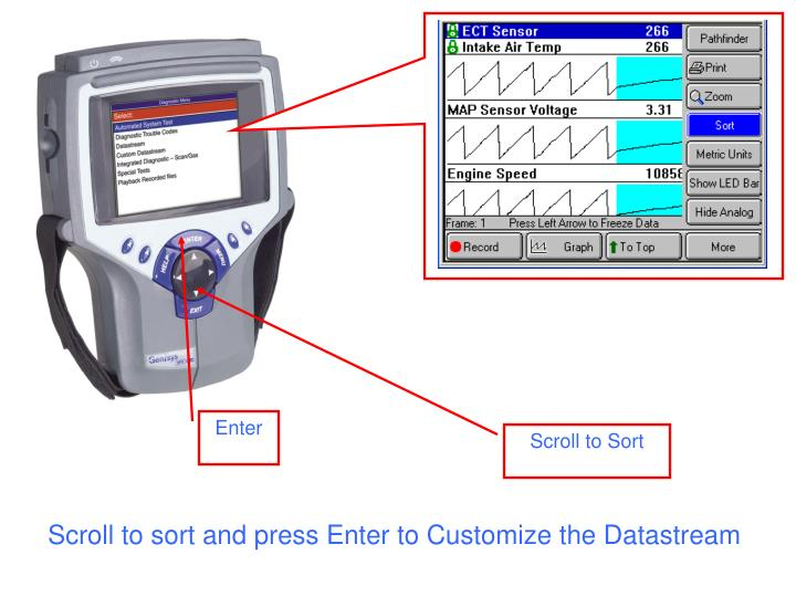 Scroll to sort and press Enter to Customize the Datastream