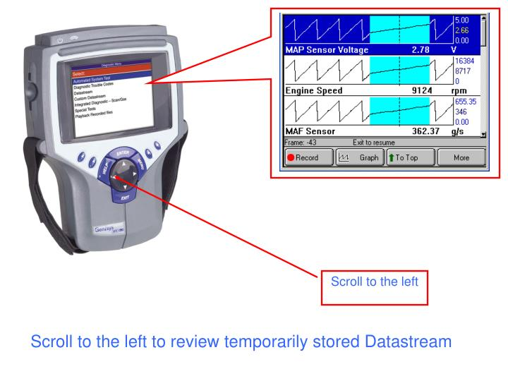 Scroll to the left to review temporarily stored Datastream