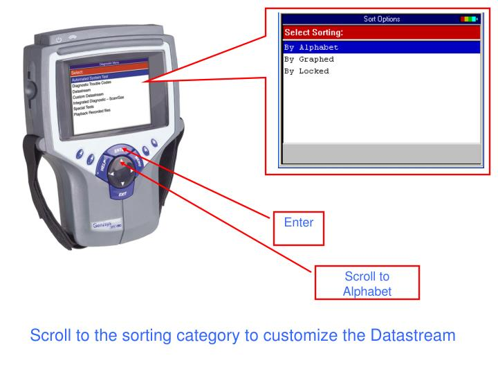 Scroll to the sorting category to customize the Datastream
