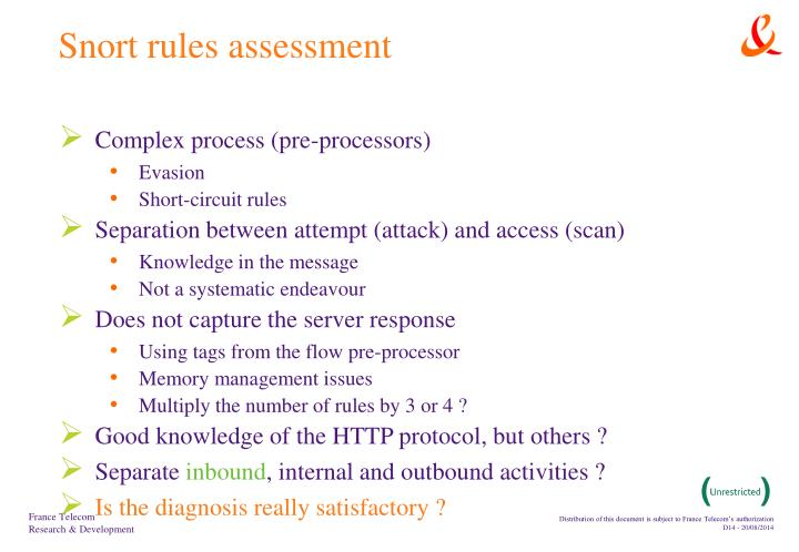 Snort rules assessment