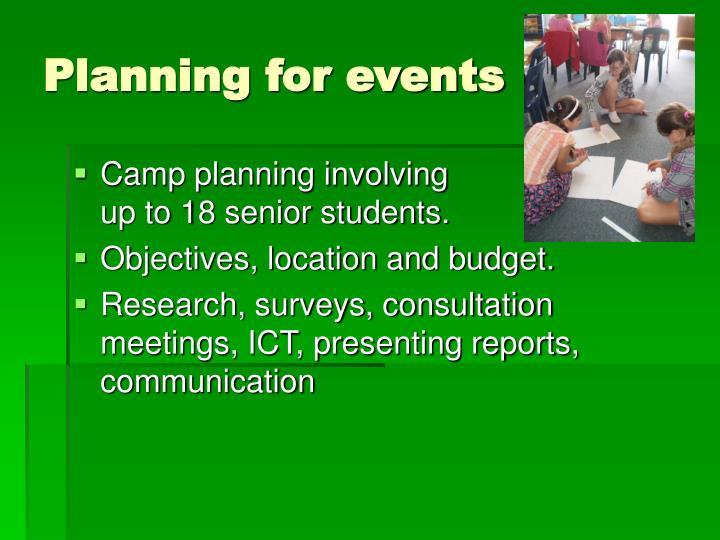 Planning for events