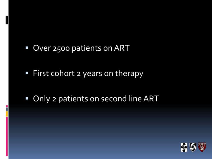 Over 2500 patients on ART