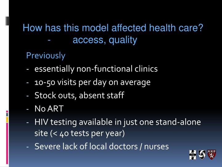 How has this model affected health care?