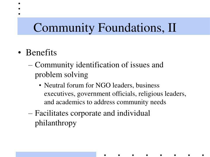 Community Foundations, II