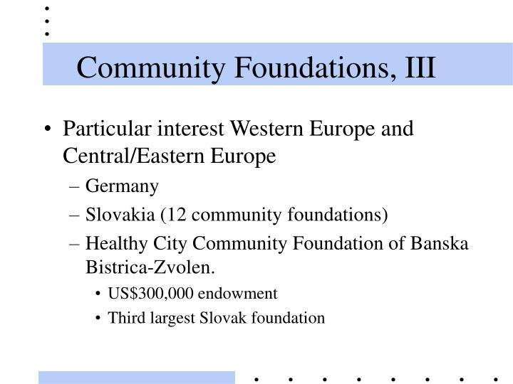 Community Foundations, III