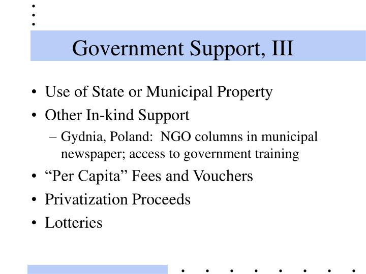 Government Support, III