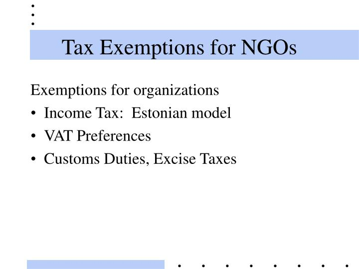 Tax Exemptions for NGOs