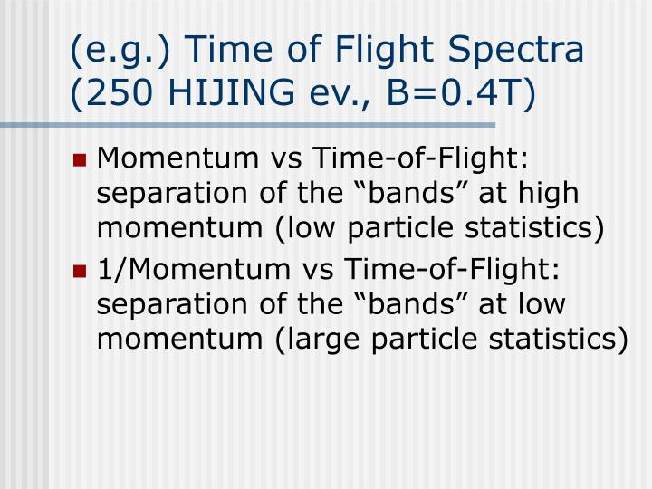 (e.g.) Time of Flight Spectra (250 HIJING ev., B=0.4T)