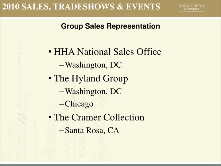 2010 SALES, TRADESHOWS & EVENTS
