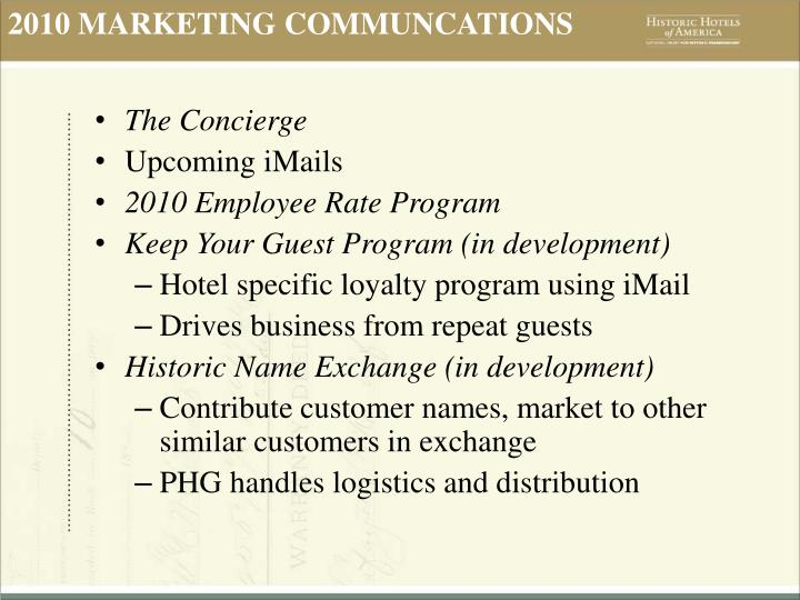 2010 MARKETING COMMUNCATIONS